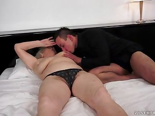 fat of age granny with a hairy pussy moans while getting drilled hardcore