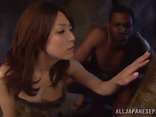 asian hottie sucks on a heavy black cock until rolling in money cums in the brush mouth