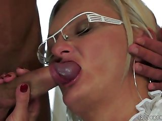 a warm creampie for a blonde mature after a hard fuck