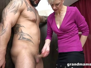 cfnm hot granny rimming in the locker room