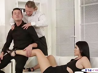 assfucked hunk tastes jizz in mmf threesome