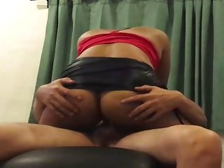 with her mini skirt ridding to cum